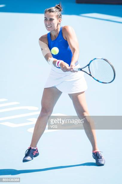 Veronica Cepede Royg of Paraguay hits a backhand during Women's singles qualification match against Gao Xinyu of China during the 2017 China Open at...