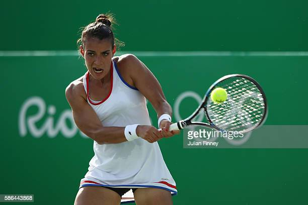 Veronica Cepede Royg of Paraguay in action against Monica Niculescu of Romania in the women's first round against on Day 1 of the Rio 2016 Olympic...