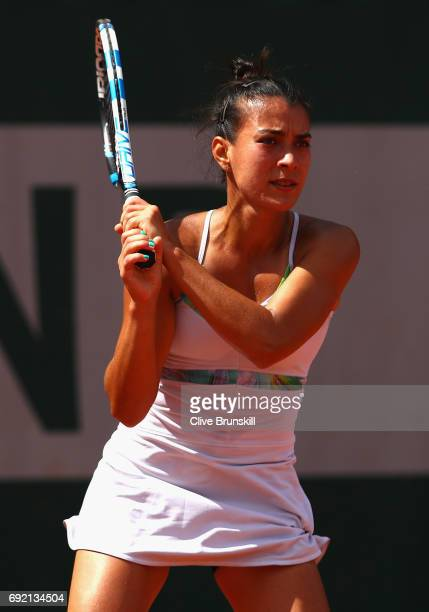 Veronica Cepede Royg of Paraguay in action during the ladies singles third round match against Mariana DuqueMarino of Columbia on day eight of the...
