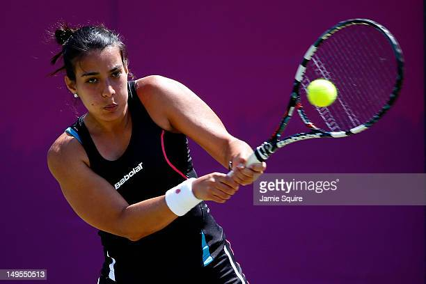 Veronica Cepede Royg of Paraguay plays a backhand during the Women's Singles Tennis match against Varvara Lepchenko of the United States of America...