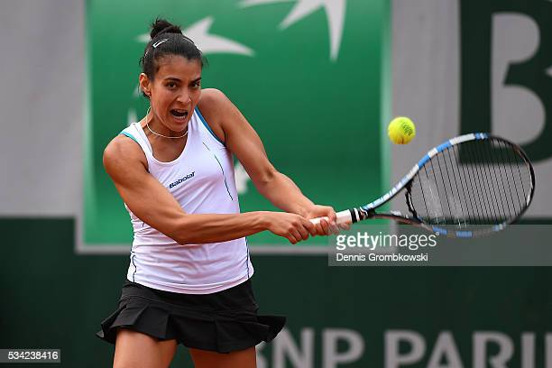 Veronica Cepede Royg of Paraguay plays a backhand during the Women's Singles second round match against Sloane Stephens of the United States on day...