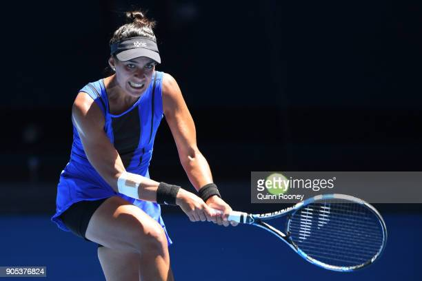 Veronica Cepede Royg of Paraguay plays a backhand in her first round match against Karolina Pliskova of the Czech Republic on day two of the 2018...