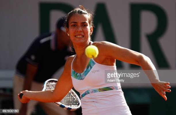 Veronica Cepede Royg of Paraguay plays a forehand during ladies singles fourth round match against Karolina Pliskova of The Czech Republic on day...