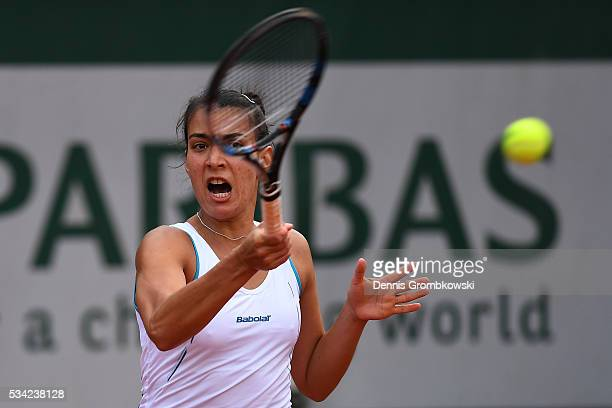 Veronica Cepede Royg of Paraguay plays a forehand during the Women's Singles second round match against Sloane Stephens of the United States on day...