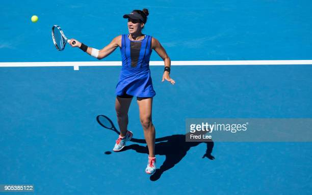 Veronica Cepede Royg of Paraguay plays a forehand in her first round match against Karolina Pliskova of the Czech Republic on day two of the 2018...