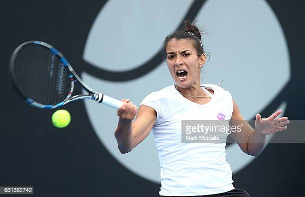Veronica Cepede Royg of Paraguay plays a forehand in her second round match against Andrea Petkovic of Germany during day one of the 2017 Hobart...