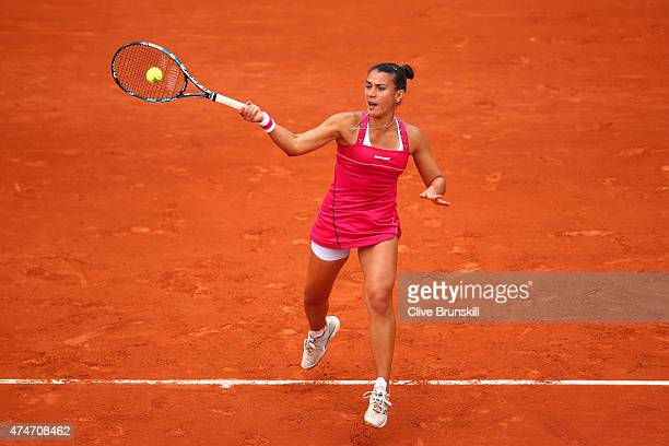 Veronica Cepede Royg of Paraguay plays a forehand in her Women's Singles match against Virginie Razzano of France on day two of the 2015 French Open...