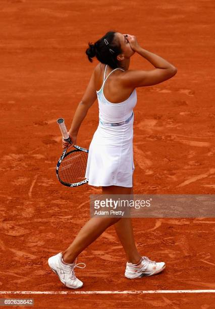 Veronica Cepede Royg of Paraguay reacts during ladies singles fourth round match against Karolina Pliskova of The Czech Republic on day nine of the...