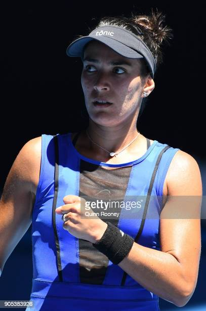 Veronica Cepede Royg of Paraguay reacts in her first round match against Karolina Pliskova of the Czech Republic on day two of the 2018 Australian...