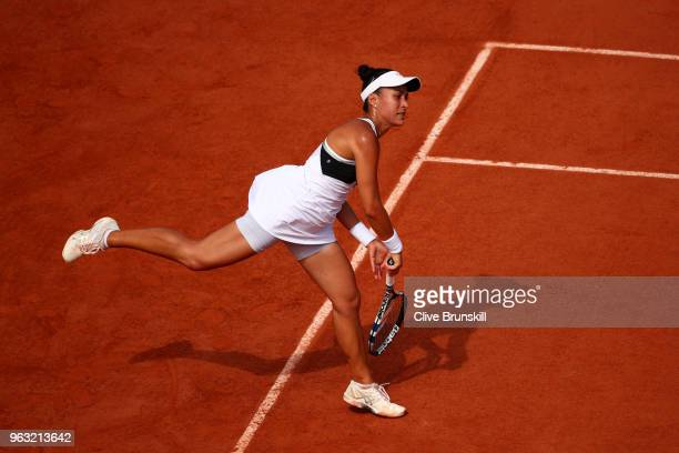 Veronica Cepede Royg of Paraguay serves during the ladies singles first round match aganist Petra Kvitova of Czech Republic during day two of the...