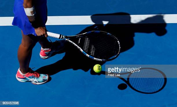 Veronica Cepede Royg of Paraguay serves in her first round match against Karolina Pliskova of the Czech Republic on day two of the 2018 Australian...