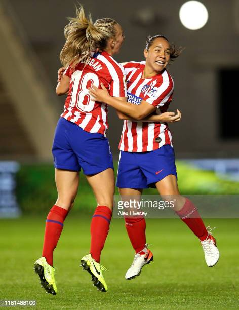 Veronica Charlyn Corral of Atletico Madrid Femenino celebrates with Toni Duggan after scoring her goal during the UEFA Women's Champions League Round...
