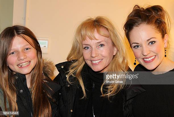 Veronica De Mornay O'Neal mother Rebecca De Mornay and Laura Osnes pose backstage at the hit musical 'Cinderella' on Broadway at The Broadway Theater...