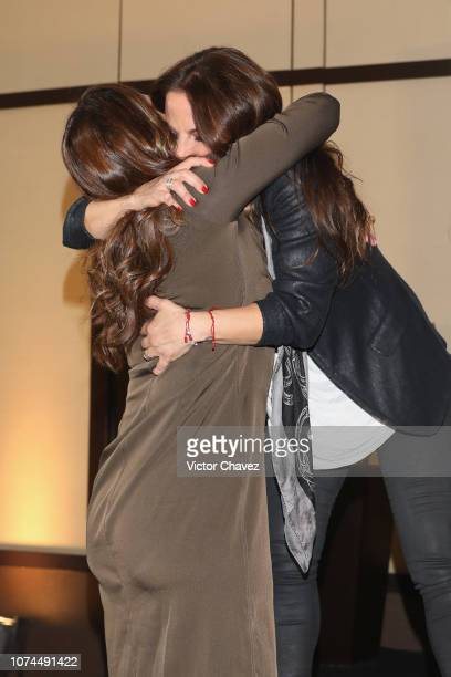 Veronica del Castillo and his sister actress Kate del Castillo attend a press conference at Club 51 on December 20 2018 in Mexico City Mexico