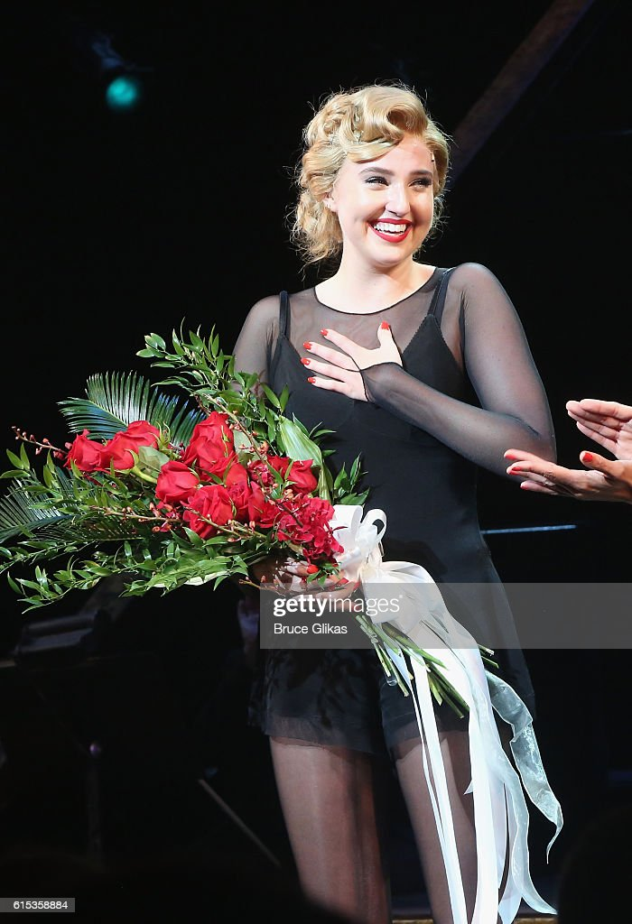 Veronica Dunne takes her curtain call in 'Chicago' on Broadway at The Ambassador Theatre on October 17, 2016 in New York City.