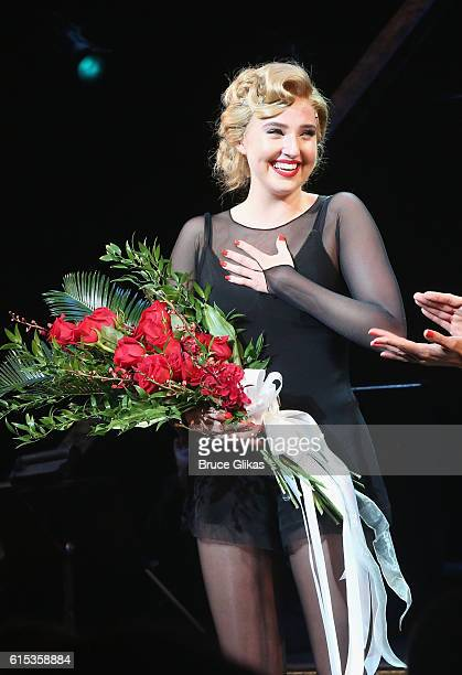 """Veronica Dunne takes her curtain call in """"Chicago"""" on Broadway at The Ambassador Theatre on October 17, 2016 in New York City."""