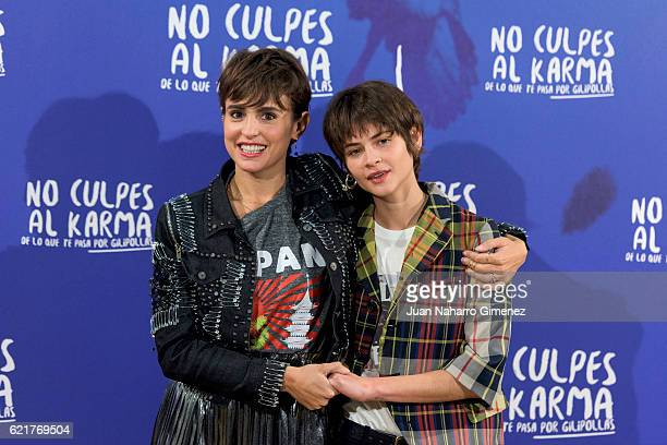 Veronica Echegui and Alba Galocha attend 'No Culpes Al Karma De Lo Que Te Pasa Por Gilipollas' photocall at El Paracaidista on November 8 2016 in...