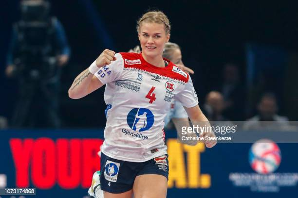 Veronica Egebakken Kristiansen of Norway celebrates during the EHF Euro match for the classification 56 between Sweden and Norway at AccorHotels...