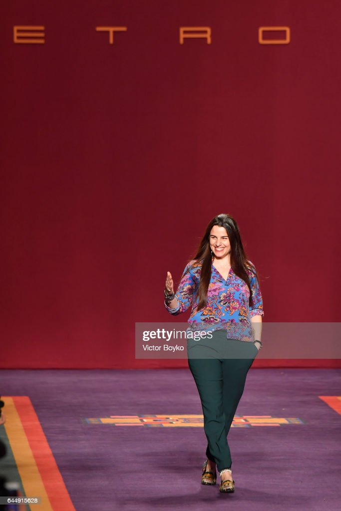 Veronica Etro acknowledges the applause of the audience at the Etro show during Milan Fashion Week Fall/Winter 2017/18 on February 24, 2017 in Milan, Italy.