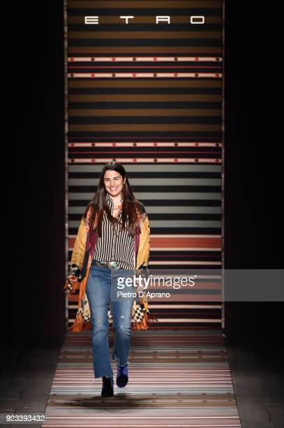 Veronica Etro walks the runway at the Etro show during Milan Fashion Week Fall/Winter 2018/19 on February 23 2018 in Milan Italy