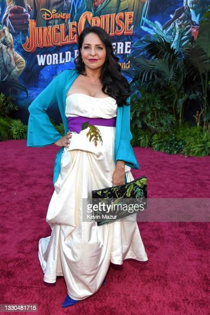 Veronica Falcón arrives at the world premiere for JUNGLE CRUISE, held at Disneyland in Anaheim, California on July 24, 2021.
