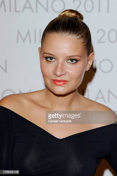 Veronica Ferraro attends the Louis Vuitton The Art Of Fashion exhibition opening during Milan Fashion Week Womenswear Spring/Summer 2012 on September...