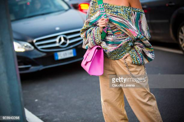 Veronica Ferraro fashion details are seen outside Missoni show during Milan Fashion Week Fall/Winter 2018/19 on February 24 2018 in Milan Italy