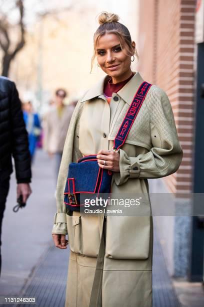 Veronica Ferraro is seen outside Fendi on Day 2 Milan Fashion Week Autumn/Winter 2019/20 on February 21 2019 in Milan Italy