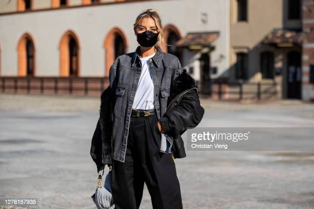 Veronica Ferraro seen wearing denim jacket, black pants outside Alberta Ferretti during the Milan Women's Fashion Week on September 23, 2020 in...