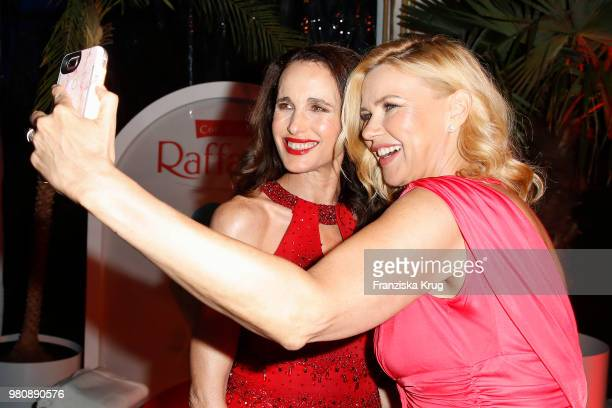 Veronica Ferres and Andie MacDowell during the Raffaello Summer Day 2018 to celebrate the 28th anniversary of Raffaello at Villa von der Heydt on...