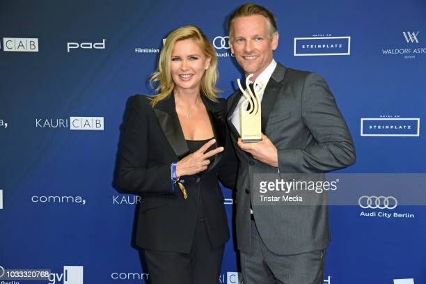 Veronica Ferres and dutch actor Barry Atsma attend the Deutscher Schauspielpreis 2018 at Zoo Palast on September 14 2018 in Berlin Germany