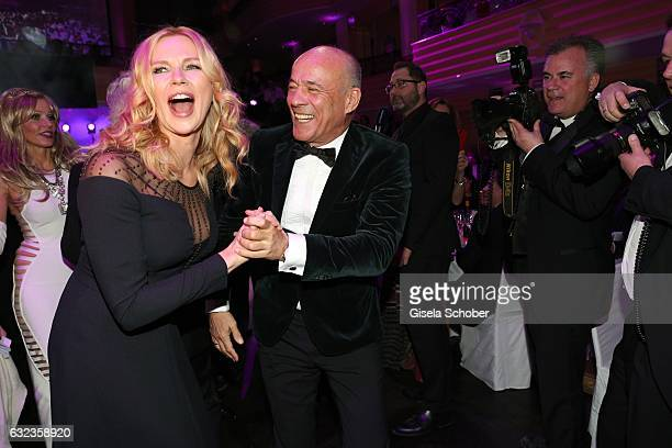 Veronica Ferres and Heiner Lauterbach dance during the 44th German Film Ball 2017 party at Hotel Bayerischer Hof on January 21 2017 in Munich Germany