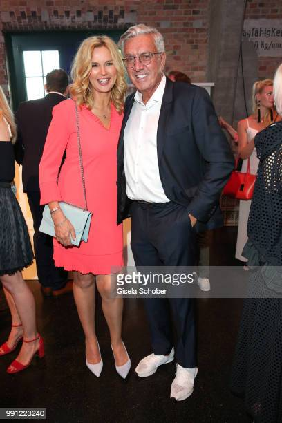 Veronica Ferres and Helmut Schlotterer Founder and CEO of Marc Cain during the Marc Cain Fashion Show Spring/Summer 2019 at WEEC Westhafen on July 3...