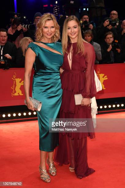 """Veronica Ferres and her daughter Lilly Krug arrive for the opening ceremony and """"My Salinger Year"""" premiere during the 70th Berlinale International..."""