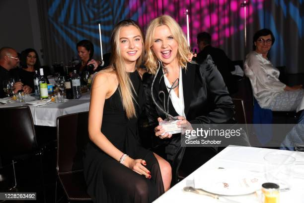 Veronica Ferres and her daughter Lilly Krug with award during the festival night and award ceremony of the 8th Kitzbuehel Film Festival at K3...