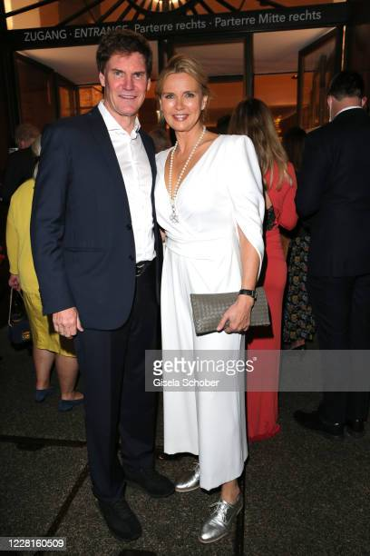 """Veronica Ferres and her husband Carsten Maschmeyer attend the play of """"Jedermann"""" during the Salzburg Festival 2020 at Salzburg State Theatre on..."""