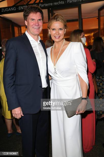 "Veronica Ferres and her husband Carsten Maschmeyer attend the play of ""Jedermann"" during the Salzburg Festival 2020 at Salzburg State Theatre on..."