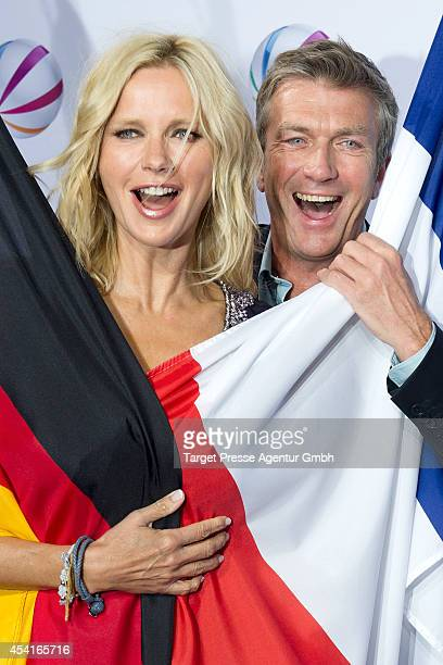 Veronica Ferres and Philippe Caroit attend the Sat1 'Die Staatsaffaere' Photocall at Astor Film Lounge on August 25 2014 in Berlin Germany