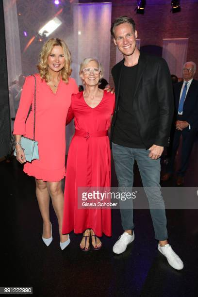 Veronica Ferres Karin Veit chief designer Marc Cain and Urs Konstantin Rouette during the Marc Cain Fashion Show Spring/Summer 2019 at WEEC Westhafen...