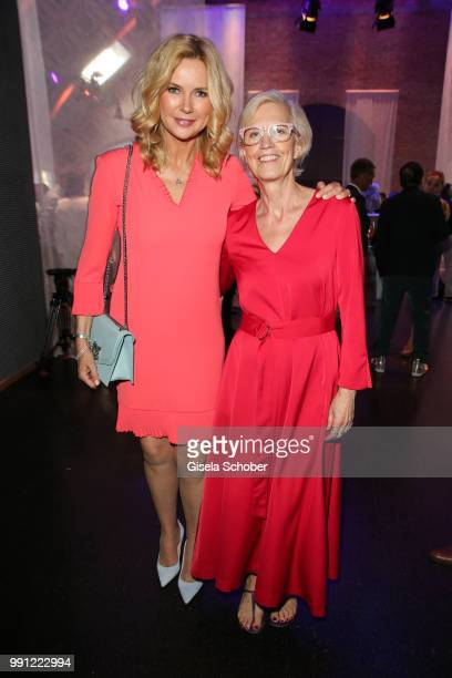 Veronica Ferres Karin Veit chief designer Marc Cain during the Marc Cain Fashion Show Spring/Summer 2019 at WEEC Westhafen on July 3 2018 in Berlin...