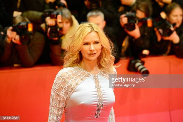 Veronica Ferres poses on the red carpet during opening ceremony of the 67th Berlinale International Film Festival at Grand Hyatt Hotel in Berlin...