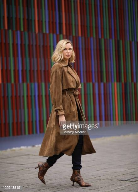 Veronica Ferres wearing Drykorn leather coat on May 13, 2020 in Munich, Germany.
