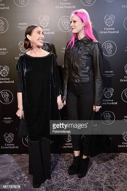 Veronica Forque and Maria Forque attend Casino Gran Madrid-Colon Goya's Party on March 31, 2014 in Madrid, Spain.