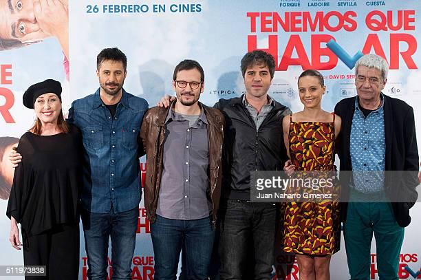 Veronica Forque, Hugo Silva, David Serrano, Ernesto Sevilla, Michelle Jenner and Oscar Ladoire attends 'Tenemos Que Hablar' photocall at Telefonica...