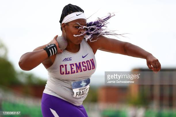 Veronica Fraley of the Clemson Tigers competes in the shot put during the Division I Men's and Women's Outdoor Track & Field Championships held at...
