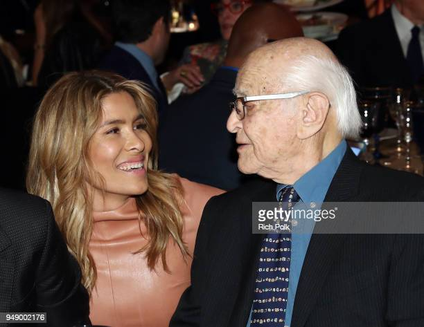 Veronica Grazer and Norman Lear attend the 2018 World of Children Hero Awards Benefit at Montage Beverly Hills on April 19 2018 in Beverly Hills...