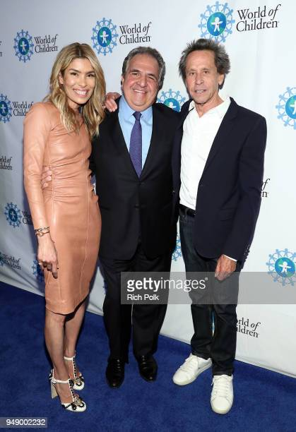 Veronica Grazer Jim Gianopulos and Brian Grazer attend the 2018 World of Children Hero Awards Benefit at Montage Beverly Hills on April 19 2018 in...