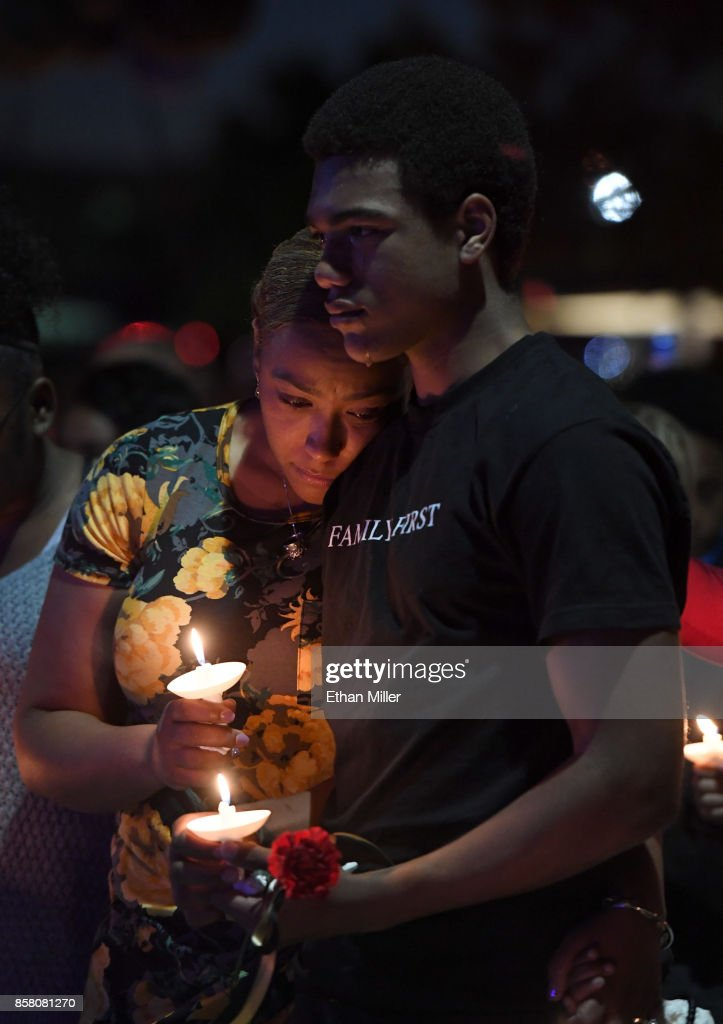 Veronica Hartfield (L), widow of slain Las Vegas Metropolitan Police Department Officer Charleston Hartfield, and their son Ayzayah Hartfield attend a vigil for Charleston Hartfield at Police Memorial Park on October 5, 2017 in Las Vegas, Nevada. Charleston Hartfield, who was off duty at the Route 91 Harvest country music festival on October 1, was killed when Stephen Paddock opened fire on the crowd killing at least 58 people and injuring more than 450. The massacre is one of the deadliest mass shooting events in U.S. history.