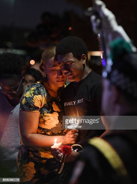 Veronica Hartfield widow of slain Las Vegas Metropolitan Police Department Officer Charleston Hartfield and their son Ayzayah Hartfield attend a...