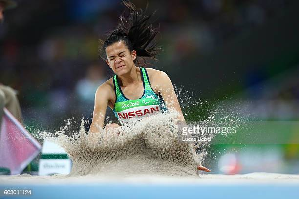Veronica Hipolito of Brazil competes in the Women's Long Jump T38 Final on day 4 of the Rio 2016 Paralympic Games at Olympic Stadium on September 11...